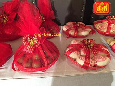 ส้มติดซังฮี่ ห่อผ้าผูกโบว์ ซาลาเปา ใช้ในพิธีหมั้นจีน